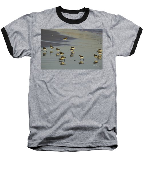 Sandpiper Sunset Reflection Baseball T-Shirt