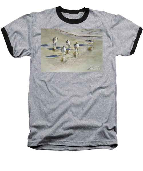 Sandpipers 2 Watercolor 5-13-12 Julianne Felton Baseball T-Shirt