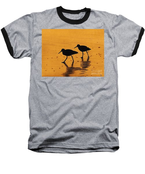 Sandpipers - At - Sunrise Baseball T-Shirt by D Hackett