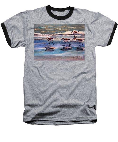 Sandpipers Running In Beach Shade 3-10-15 Baseball T-Shirt