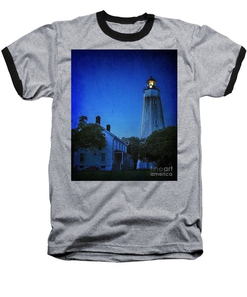 Baseball T-Shirt featuring the photograph Sandy Hook Lighthouse At Twilight by Debra Fedchin