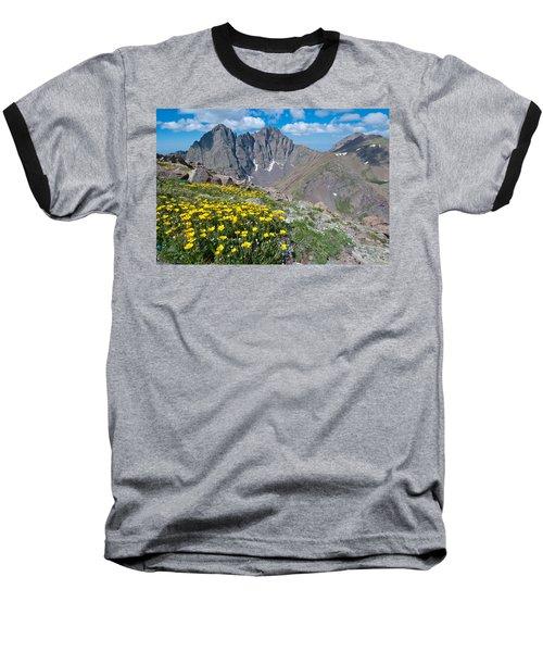 Sangre De Cristos Crestone Peak And Wildflowers Baseball T-Shirt