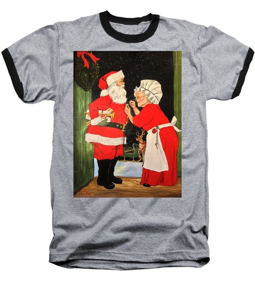 Baseball T-Shirt featuring the painting Santa And Mrs by Alan Lakin