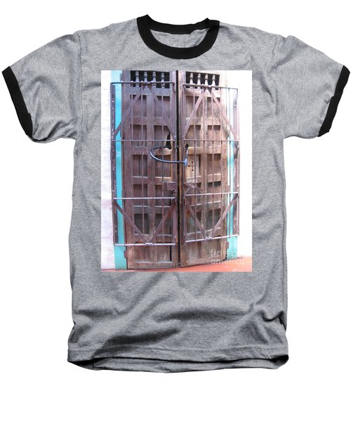 Baseball T-Shirt featuring the photograph Santa Fe Old Door by Dora Sofia Caputo Photographic Art and Design