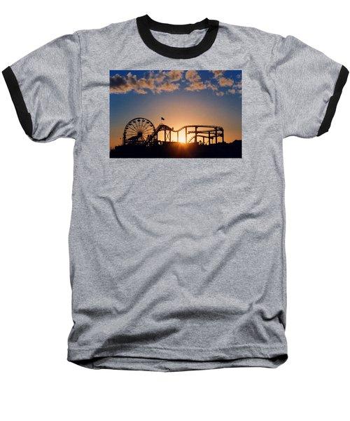 Santa Monica Pier Baseball T-Shirt by Art Block Collections
