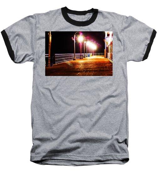 Santa Monica Pier At Night Baseball T-Shirt