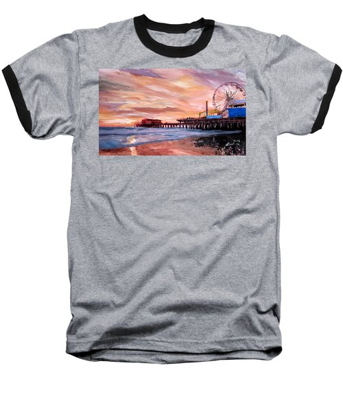 Santa Monica Pier At Sunset Baseball T-Shirt