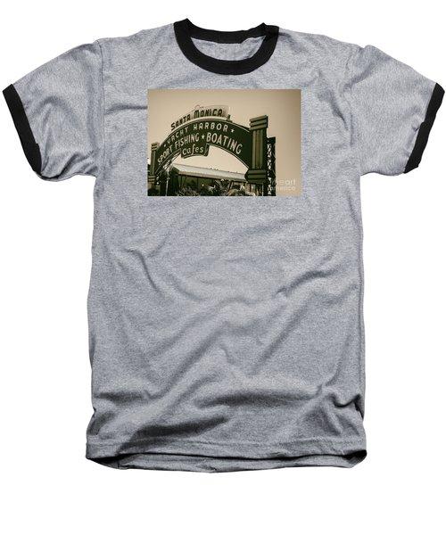 Santa Monica Pier Sign Baseball T-Shirt by David Millenheft