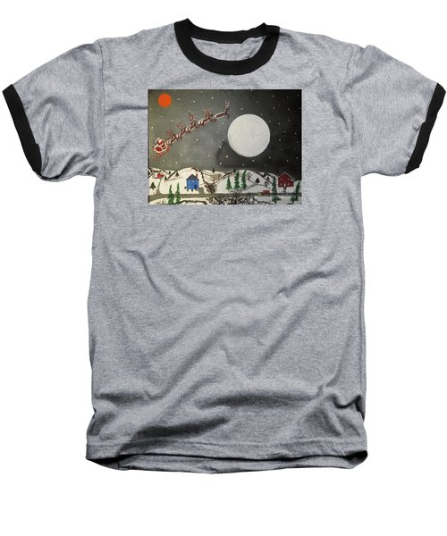 Baseball T-Shirt featuring the painting Santa Over The Moon by Jeffrey Koss