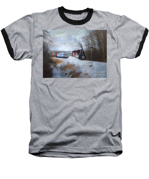 Baseball T-Shirt featuring the digital art Santa Train - Waterloo Central Railway No Text by Lianne Schneider