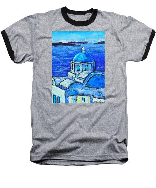 Santorini  Blue Baseball T-Shirt