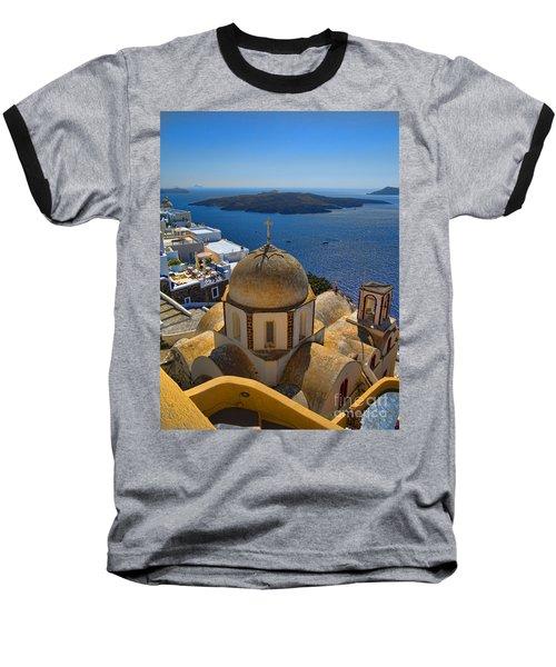 Santorini Caldera With Church And Thira Village Baseball T-Shirt