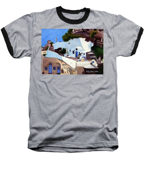 Santorini Cave Homes Baseball T-Shirt by Mike Robles
