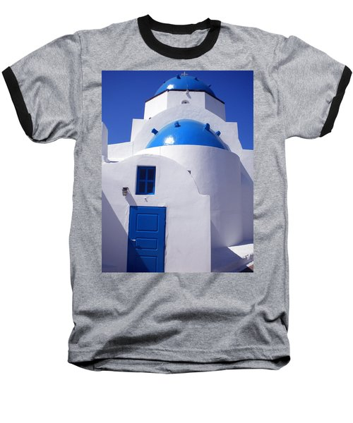Baseball T-Shirt featuring the photograph Santorini Church  by Colette V Hera  Guggenheim