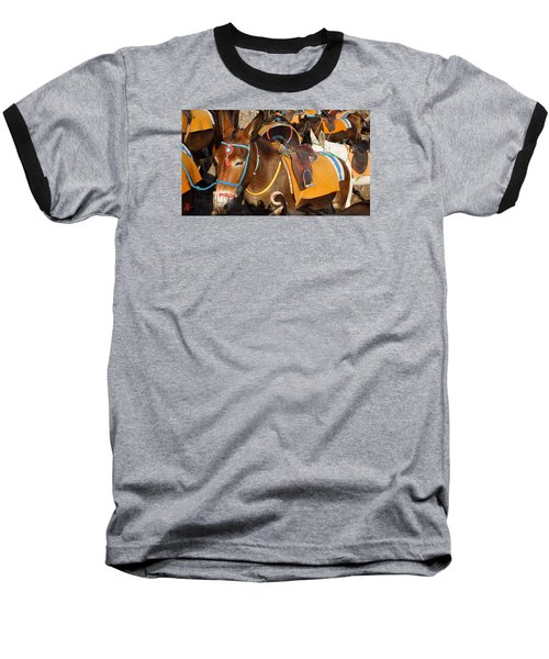 Santorini Donkeys Ready For Work Baseball T-Shirt