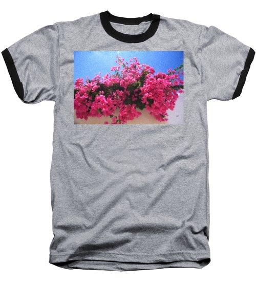 Santorini Flowers Grk1113 Baseball T-Shirt