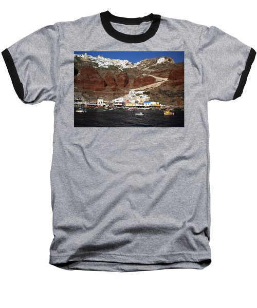 Santorini  Island  View To Oia Greece Baseball T-Shirt
