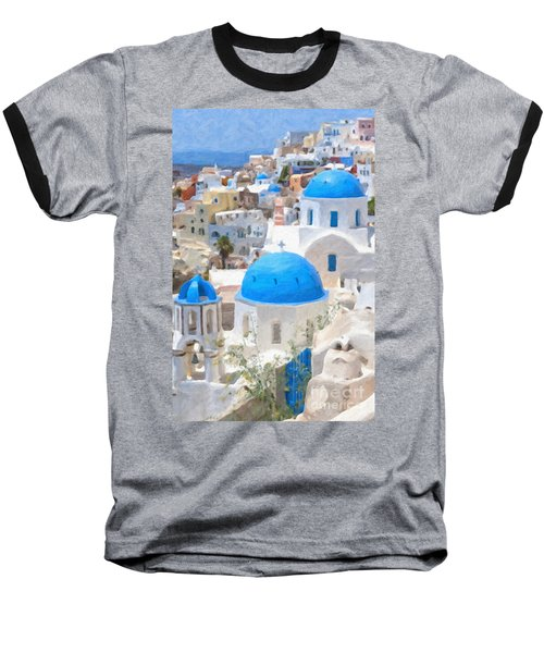 Santorini Oil Painting Baseball T-Shirt