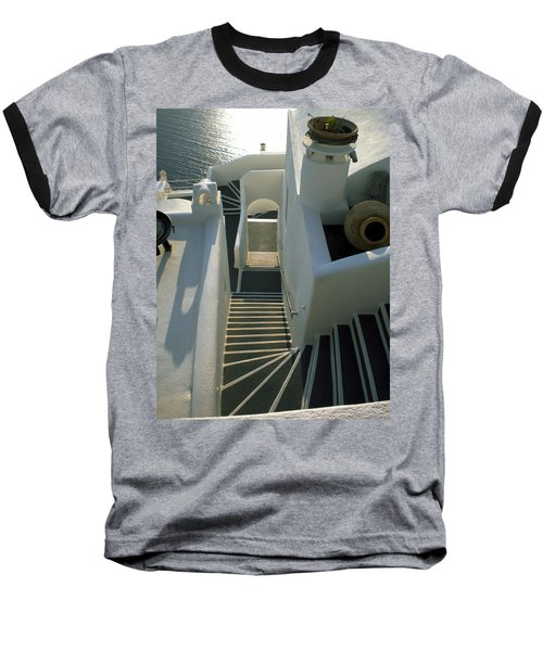 Baseball T-Shirt featuring the photograph Santorini Stairs by Colette V Hera  Guggenheim
