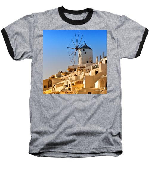 Santorini Windmill 05 Baseball T-Shirt