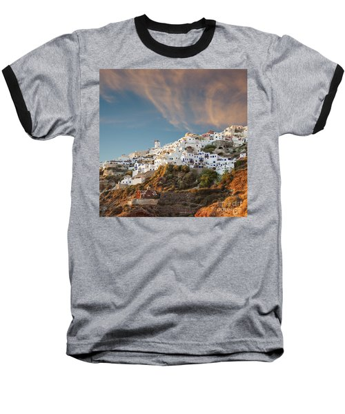 Santorini Windmill At Dusk Baseball T-Shirt