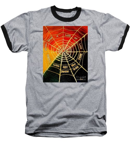 Satan's Web Of Lies Baseball T-Shirt