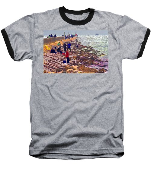 Baseball T-Shirt featuring the photograph Saturday Morning On The Surfside Jetty by Gary Holmes