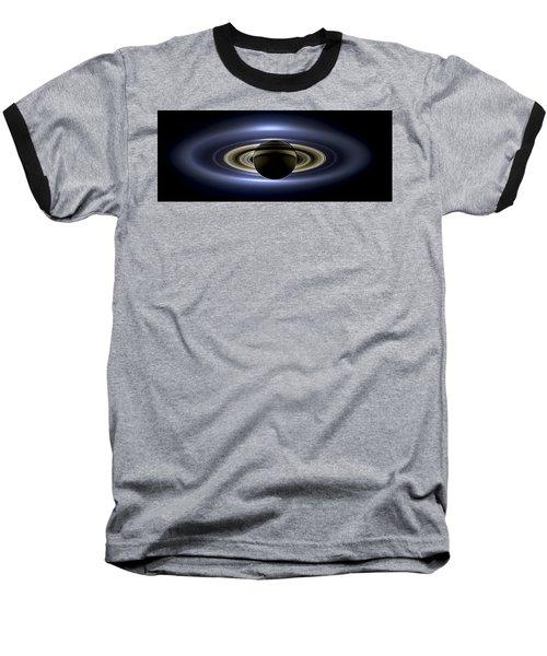 Saturn Mosaic With Earth Baseball T-Shirt