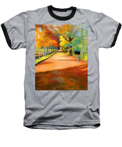 Sawmill Road Autumn Vermont Landscape Baseball T-Shirt by Catherine Twomey