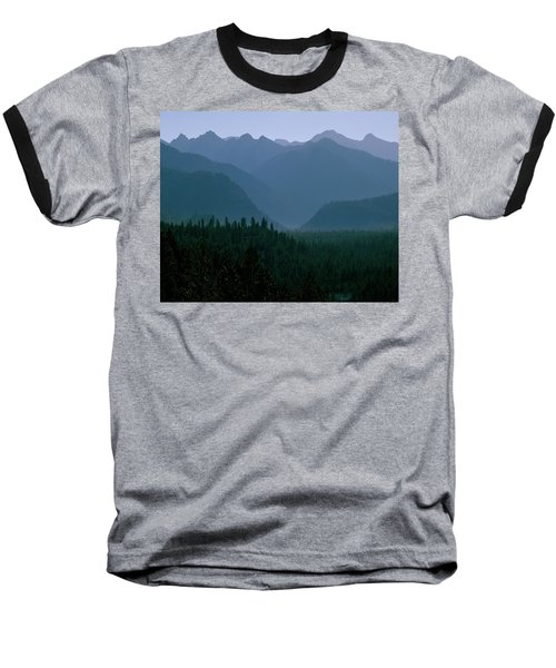 Sawtooth Mountains Silhouette Baseball T-Shirt