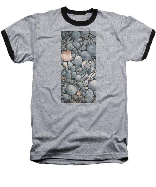 Scallop Shell And Black Stones Baseball T-Shirt by Mary Hubley
