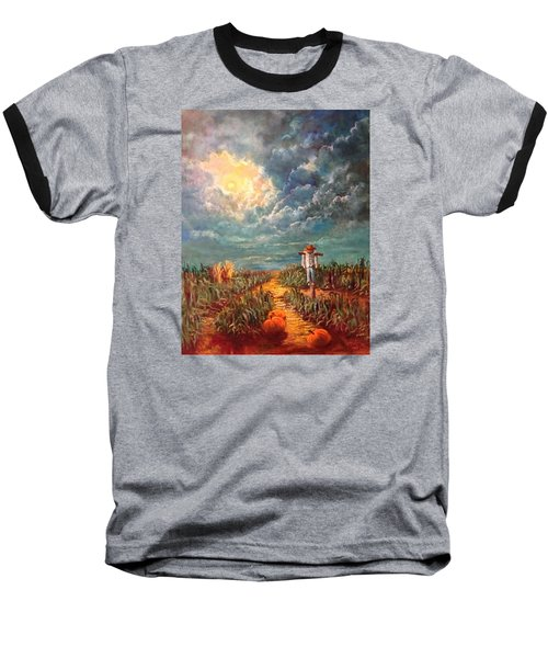 Scarecrow Moon Pumpkins And Mystery Baseball T-Shirt by Randy Burns