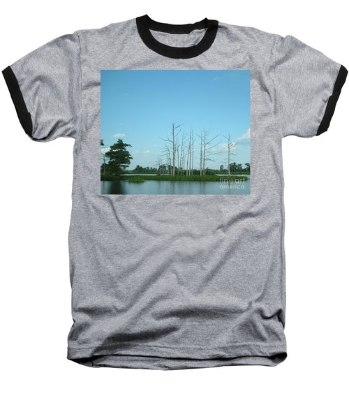 Baseball T-Shirt featuring the photograph Scenic Swamp Cypress Trees by Joseph Baril