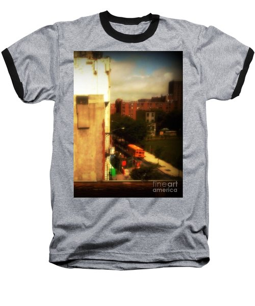 School Bus - New York City Street Scene Baseball T-Shirt by Miriam Danar