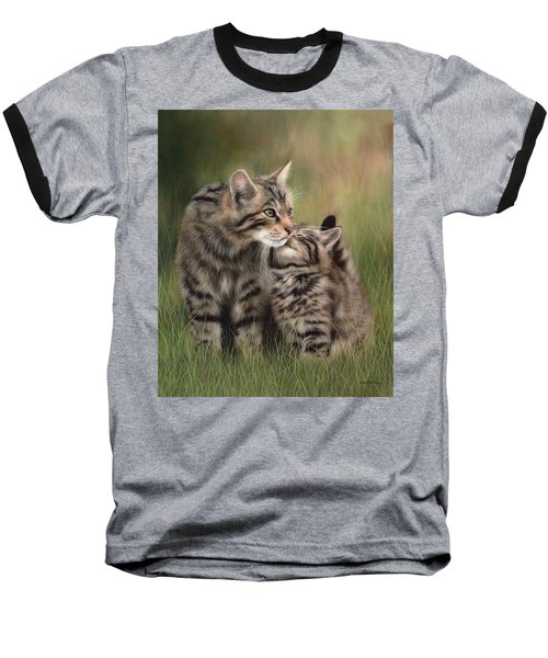 Scottish Wildcats Painting - In Support Of The Scottish Wildcat Haven Project Baseball T-Shirt