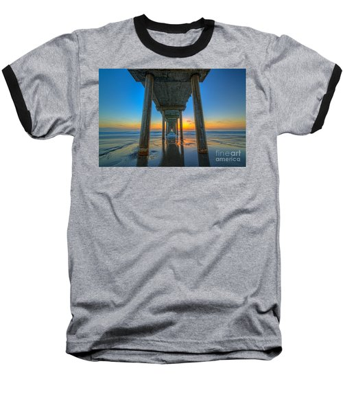 Scripps Pier Sunset Baseball T-Shirt