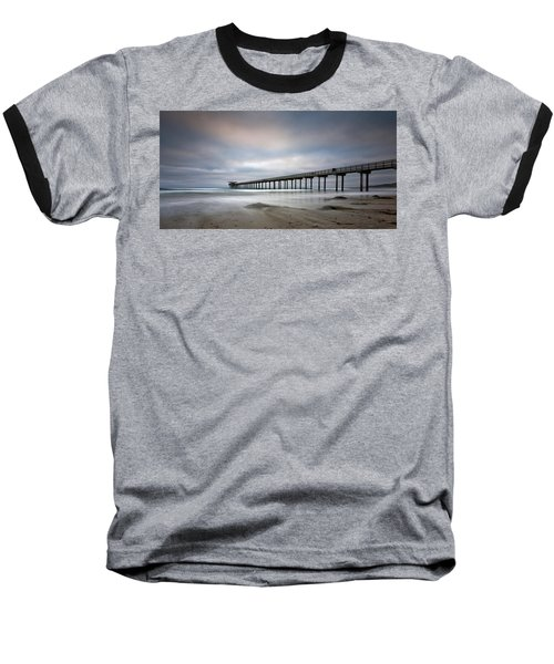 Scripps Pier Wide -lrg Print Baseball T-Shirt by Peter Tellone
