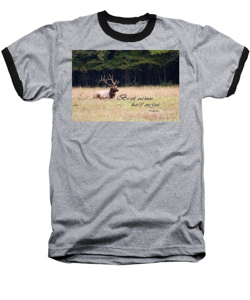 Scripture Photo With Elk Sitting Baseball T-Shirt