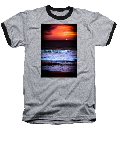 Sea Foam Under Fire Sky Baseball T-Shirt by Edgar Laureano