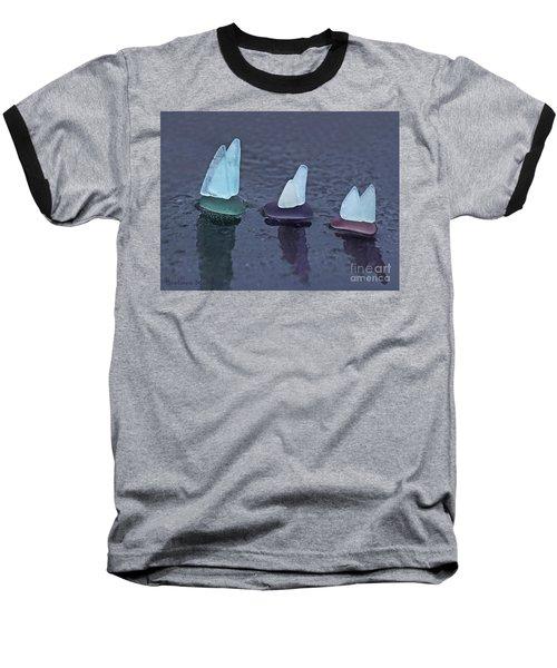 Sea Glass Flotilla Baseball T-Shirt by Barbara McMahon