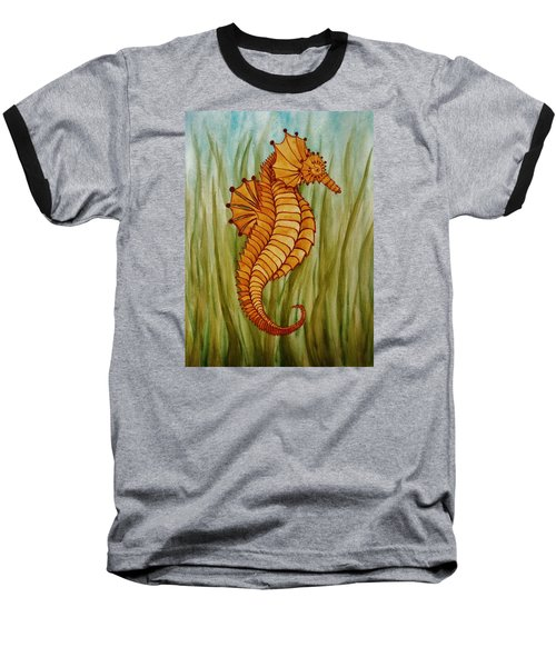 Baseball T-Shirt featuring the painting Sea Horse by Katherine Young-Beck