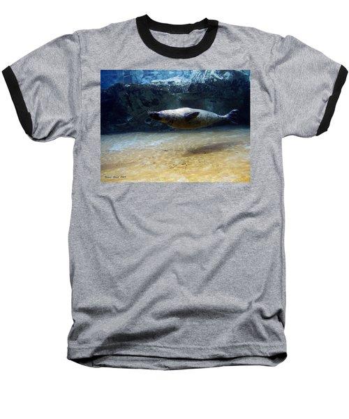 Baseball T-Shirt featuring the photograph Sea Lion Swimming Upsidedown by Verana Stark