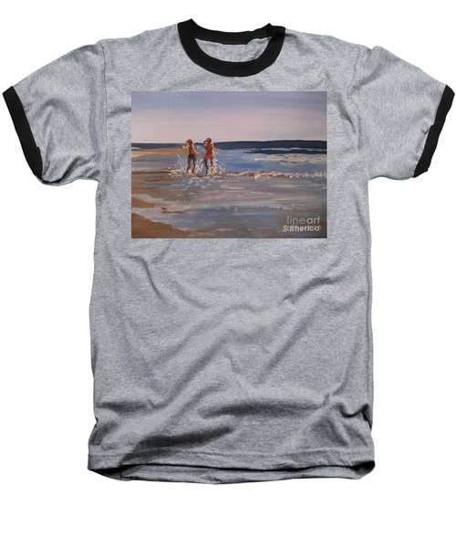 Sea Splashing On The Beach Baseball T-Shirt