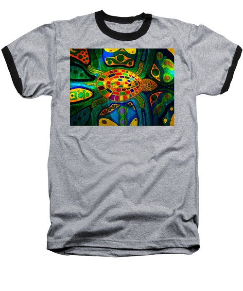 Sea Turtle - Abstract Ocean - Native Art Baseball T-Shirt