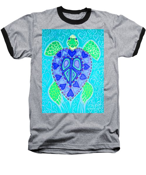 Sea Turtle Swim Baseball T-Shirt by Nick Gustafson