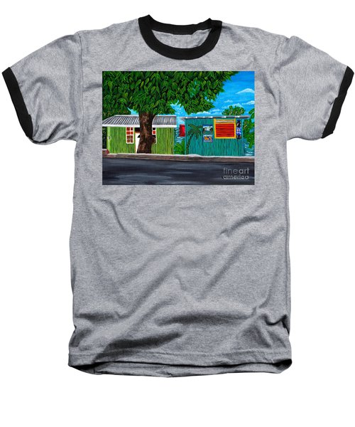 Sea-view Cafe Baseball T-Shirt by Laura Forde
