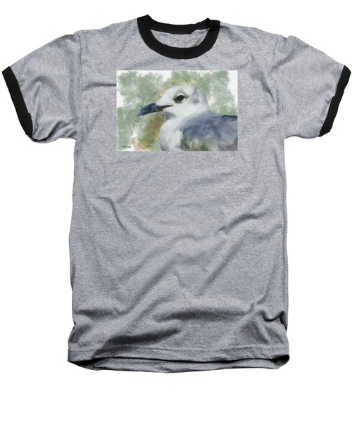 Baseball T-Shirt featuring the painting Seagull Closeup by Greg Collins