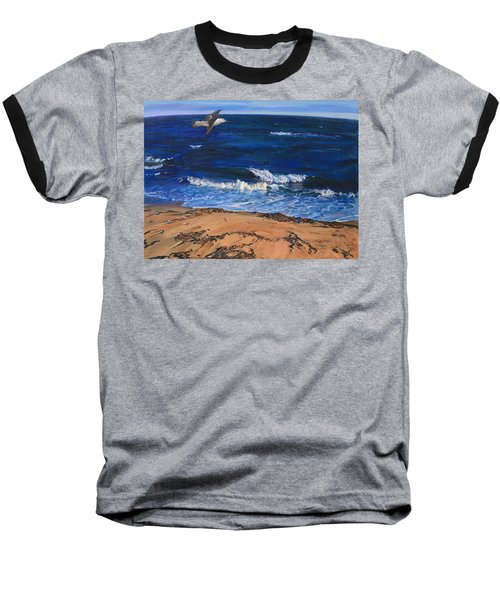 Seagull Flying Along The Surf Baseball T-Shirt