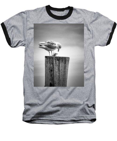Seagull On Pier  Baseball T-Shirt by Brian Caldwell
