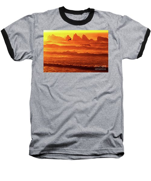 Baseball T-Shirt featuring the photograph Seagull Soaring Over The Surf At Sunset Oregon Coast by Dave Welling